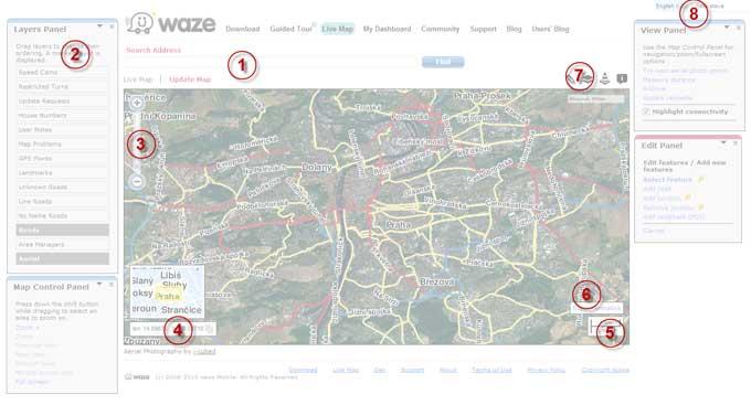 Rozložení hlavní stránky Waze Cartouche